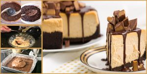 Simple steps to make No-Bake Chocolate Peanut Butter Cheesecake