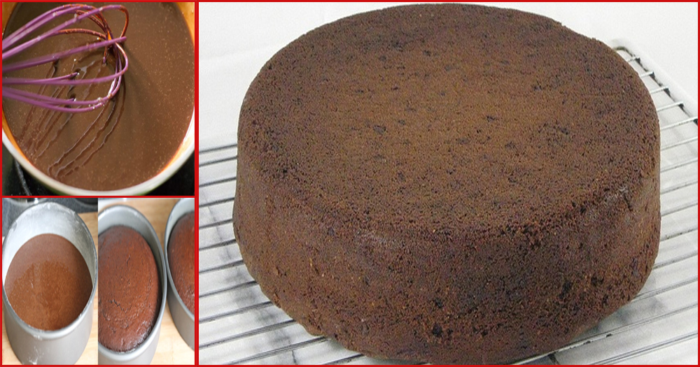 Delicious chocolate sponge cake without oven recipe for Chocolate sponge ingredients
