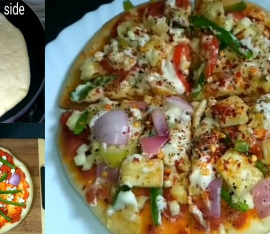 How to make Vegetable Cheese Pizza on Tawa without an Oven